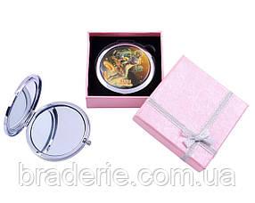 Зеркальце для макияжа косметическое двустороннее Знаки зодиака 7006-3 в подарочной коробочке