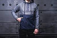 Мужской Анорак демисезонный куртка с капюшоном в стиле Nike темный, фото 1
