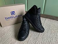 Мужские зимние кожаные ботинки-угги Babylon Black черные на цигейке натуральная кожа