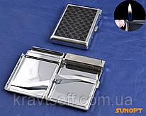 Портсигар с зажигалкой на 20 сигарет (Кожа, обычное пламя) №3308-1