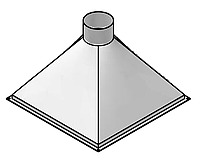 Вытяжной зонт 1400×1000 островной классический из оцинкованной стали