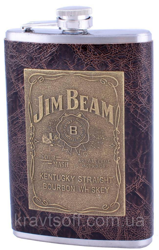 Фляга из нержавеющей стали Jim Beam (Кожа, 265 мл) №179-20-1