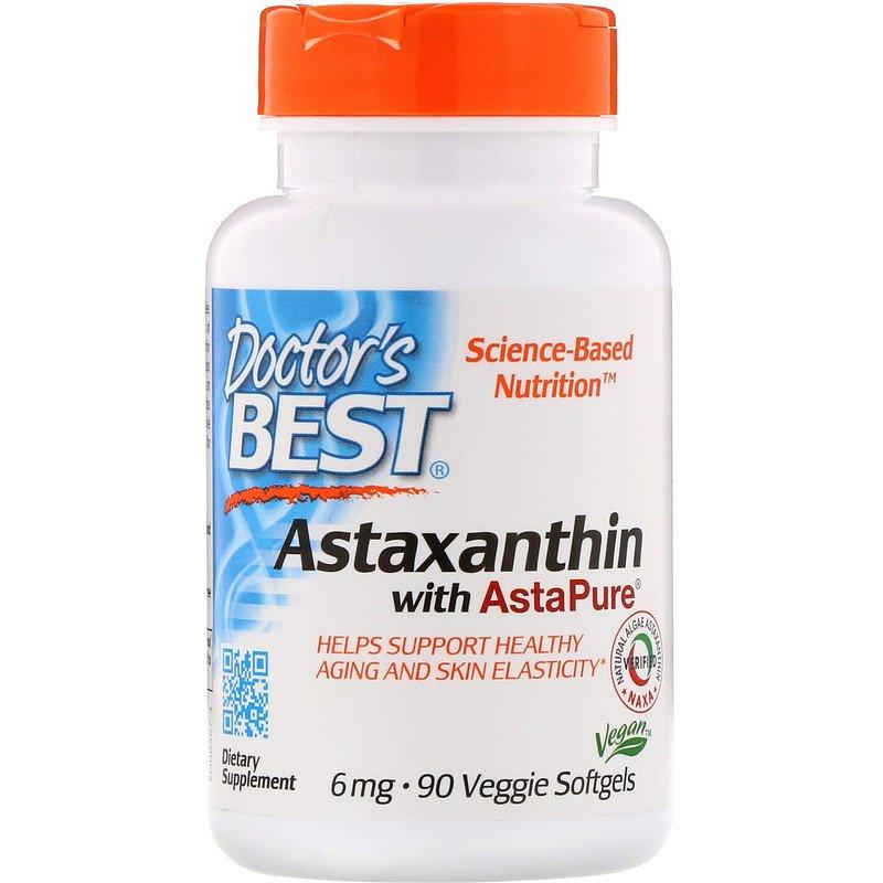 """Астаксантин Doctor's Best """"Astaxanthin with AstaPure"""" 6 мг (90 гелевых капсул)"""