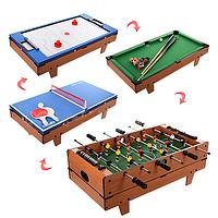 Настольная игра 4в1 футбол, воздушный хоккей, теннис, бильярд