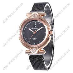 """Жіночі наручні годинники на магнітній застібці """"Rinnandy"""" (чорний)"""