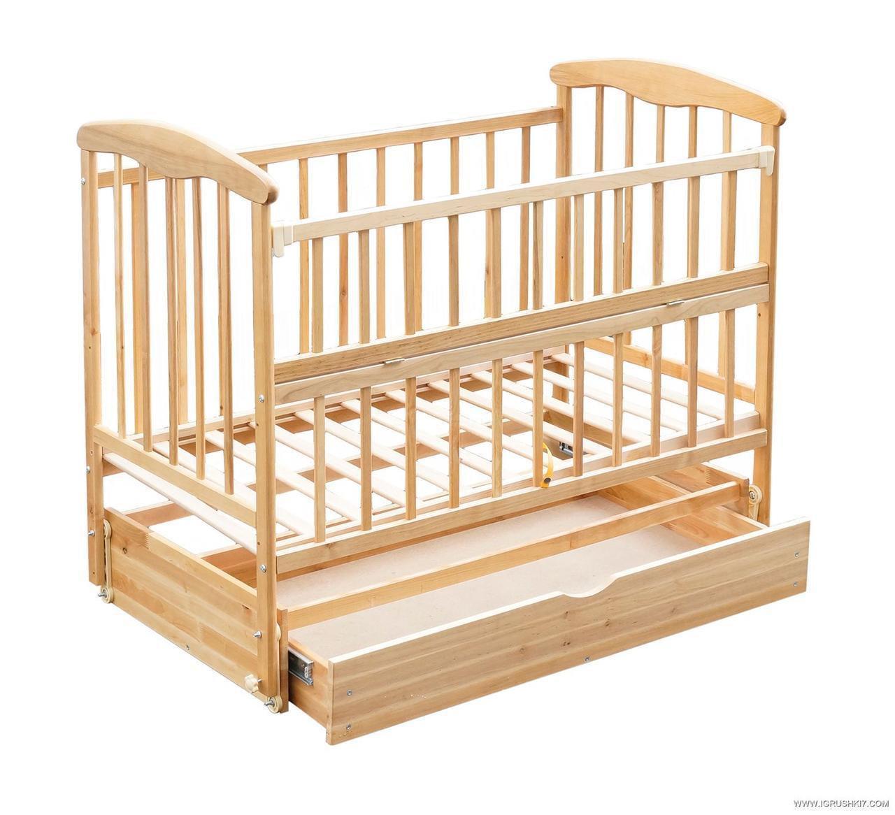 Детская кроватка маятник  ящик