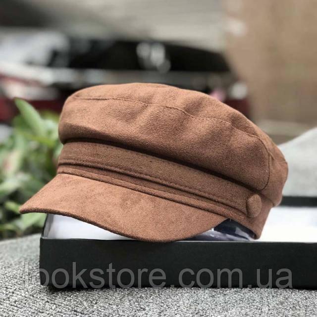 Женский картуз, кепи, фуражка замшевый коричневый