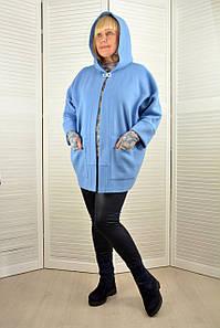 Кардиган с капюшоном голубой - Модель Л619