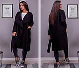 Женское стильно кашемировое пальто ровного фасона на пуговицах с карманами размер: 54-56, 58-60, фото 4