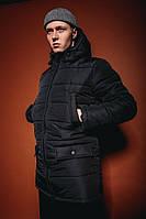 Чоловіча куртка зимова з капюшоном довга чорна парку