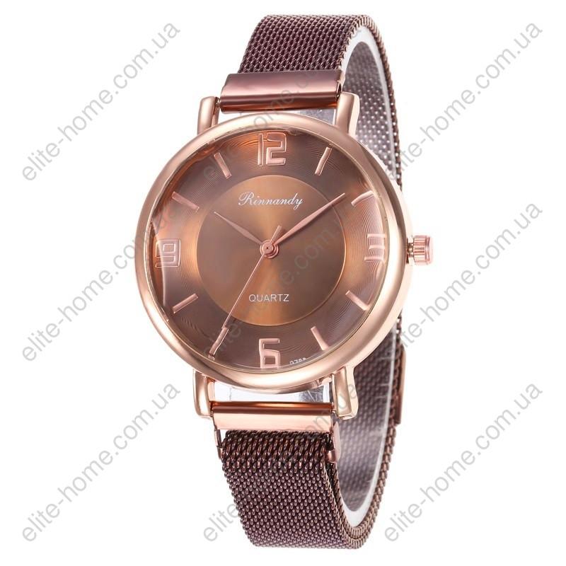 """Женские наручные часы на магнитной застежке """"Rinnandy"""" (коричневый)"""