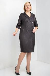 Платье с отложным воротником большие размеры м396
