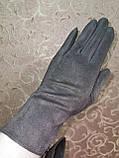 Замш с сенсором тонкий женские перчатки для работы на телефоне плоншете ANJELA стильные только оптом, фото 2