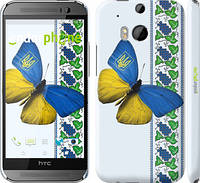 "Чехол на HTC One M8 dual sim Желто-голубая бабочка ""1054c-55"""