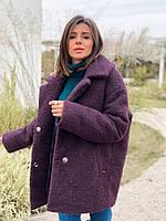 Женское зимнее теплое короткое пальто на пуговицах