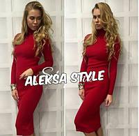 Платье-гольф женское, стильное, теплое, цвет краный, 304-003