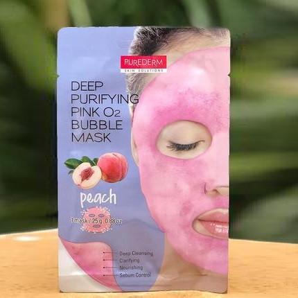 Кислородная тканевая маска для лица Deep Purifying Pink O2 Bubble Mask Peach (персик)