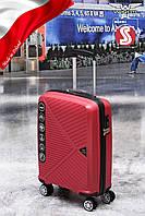 Чемодан малый из полипропилена на 4-х колесах WINGS PP-06 RED