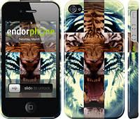 "Чехол на iPhone 4 Злой тигр ""866c-15"""