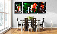 """Картины для кухни на холсте """"Набор картин """"Коктейль апероль на фоне деревянной барной стойки"""""""