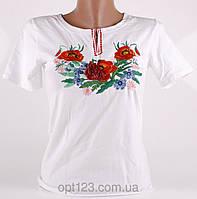 Нарядная женская футболка вышиванка в белом цвете