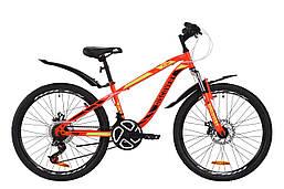 """Велосипед ST 24"""" Discovery FLINT AM DD с крылом Pl 2020 (красно-черный с салатовым)"""