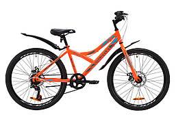 """Велосипед ST 24"""" Discovery FLINT DD с крылом Pl 2020 (оранжево-бирюзовый с серым)"""