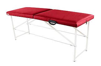Массажный стол (косметологическая кушетка)  Ukrestet Standart, красный, CS, складной, 2-секционный