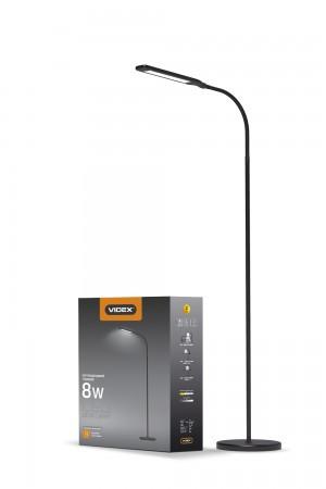 LED торшер напольный чёрный VIDEX VL-TF0702B 8W 3000-5500K 25049