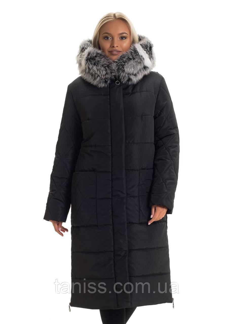 Зимний, женский пуховик большого размера, с мехом,мех песец, капюшон вшитый, разм. 46. 48. 50. 56. 58,черный