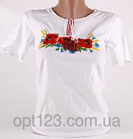 Качественная женская футболка вышиванка в белом цвете