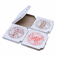 Коробки для пиццы 250x250x37 белые с дизайном, фото 1