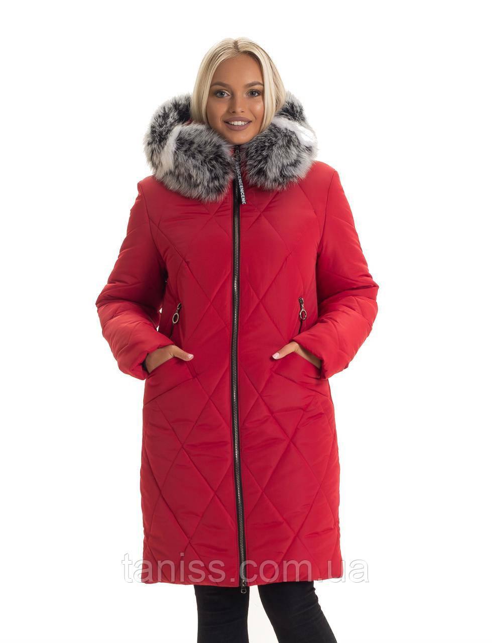 Зимовий жіночий пуховик великого розміру,хутро песця знімний. капюшон вшитий. розм. 44,46,48,50 червоний