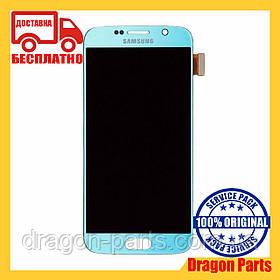 Дисплей Samsung G920 Galaxy S6 с сенсором Голубой Blue оригинал , GH97-17260D