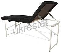 """Массажный стол (косметологическая кушетка)  Ukrestet """"Standart"""", складной, 3-секционный, черный, CTS"""