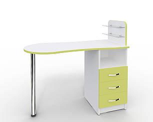 Маникюрный стол Markson Эстет №1 M101, c стеклянными полочками под лак, белый с зелеными фасадами