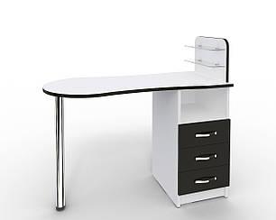 Маникюрный стол Markson Эстет №1 M101, c стеклянными полочками под лак, белый с черными фасадами
