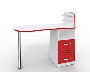Маникюрный стол Markson Эстет №1 M101, c стеклянными полочками под лак, белый с красными фасадами