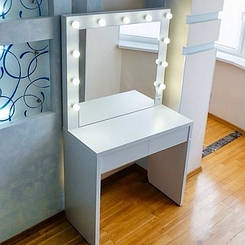 Туалетный столик М612 EMILY, трюмо с зеркалом и подсветкой, белое