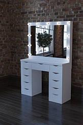Макияжный столик М613 ARIA, трюмо с зеркалом и подсветкой, белое