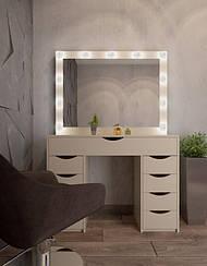 Макияжный столик М614 LILY, трюмо с зеркалом и подсветкой, белое