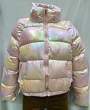 Куртка короткая осенняя, цвета розовый хамелеон