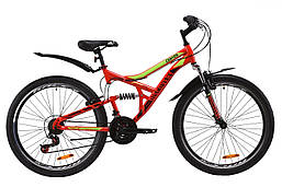 """Велосипед ST 26"""" Discovery CANYON AM2 Vbr с крылом Pl 2020 (красно-салатовый с черным)"""