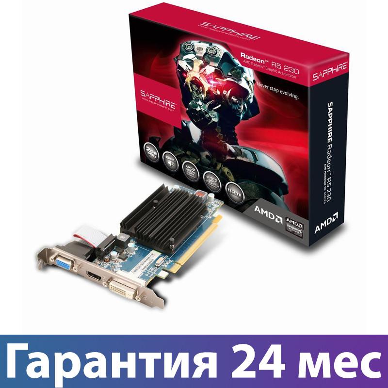 Видеокарта Radeon R5 230, Sapphire, 1 Гб DDR3, 64-bit, , Silent (11233-01-20G), низкопрофильная, відеокарта