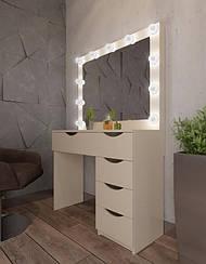 Туалетный столик М615 LOLA, трюмо с зеркалом и подсветкой, белое
