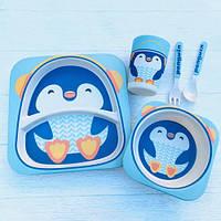 Набор детской посуды бамбуковой пингвин Stenson, фото 1