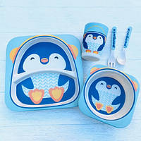 Набор детской посуды бамбуковой пингвин Stenson