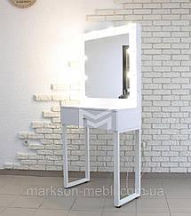 Туалетный столик М616 ALITA, трюмо с зеркалом и подсветкой, белое