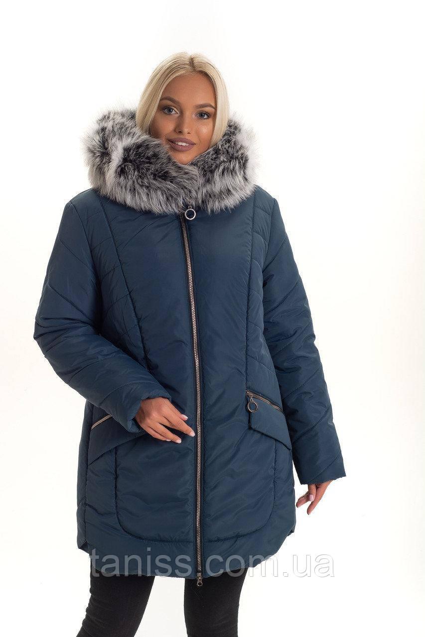 Зимняя женская куртка большого размера, натуральный мех песец, съемный, размеры 48,50,52 малахит (132)ЧБк