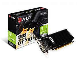 Видеокарта GeForce GT710, MSI, 2 Гб DDR3, 64-bit, Silent (GT 710 2GD3H LP), низкопрофильная, відеокарта, фото 3